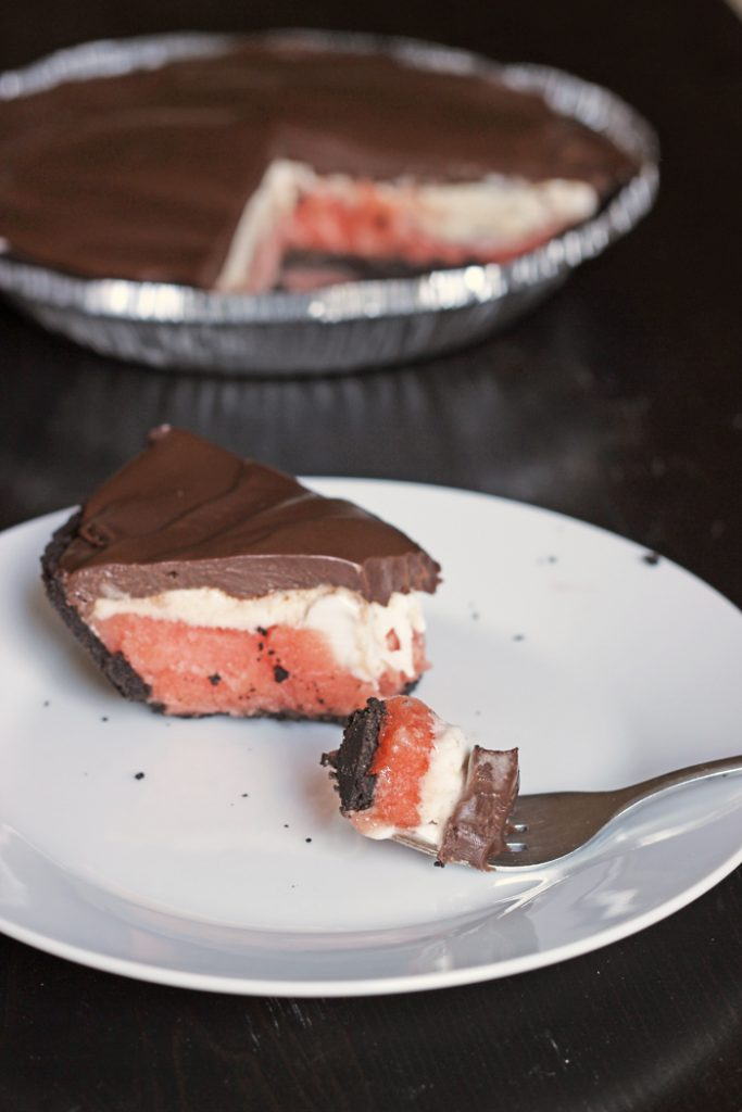 Sorbet & Ice Cream Pie with Chocolate Ganache