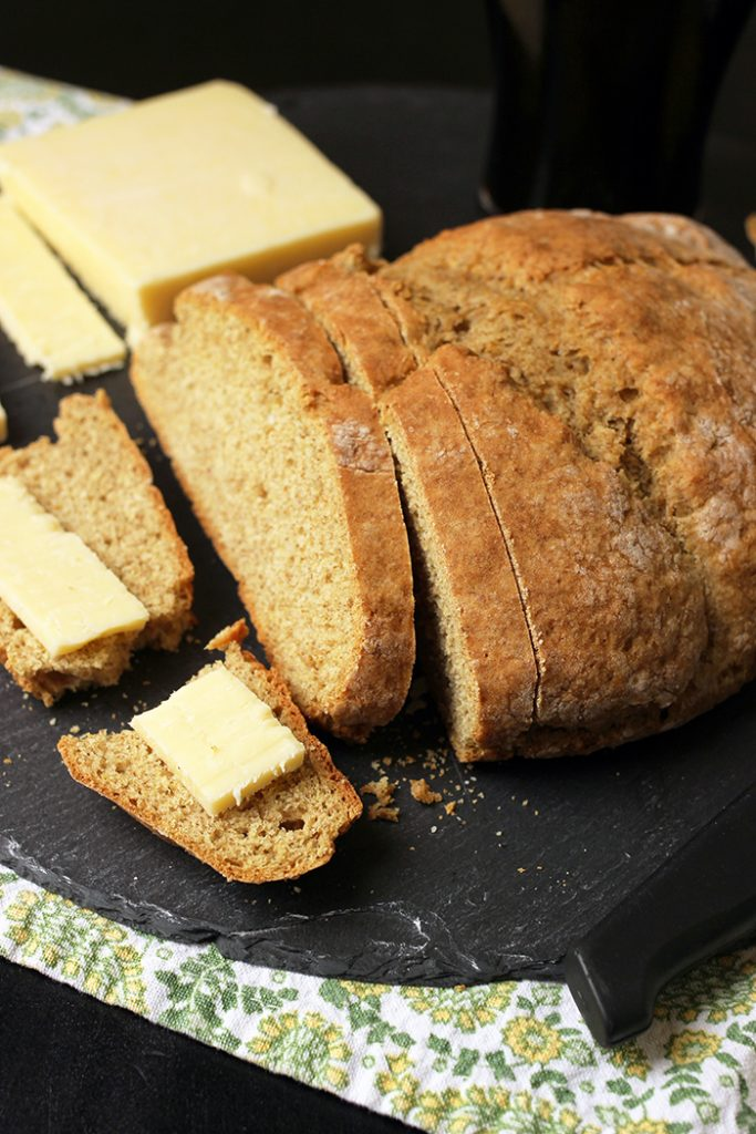 sliced loaf of soda bread with cheese