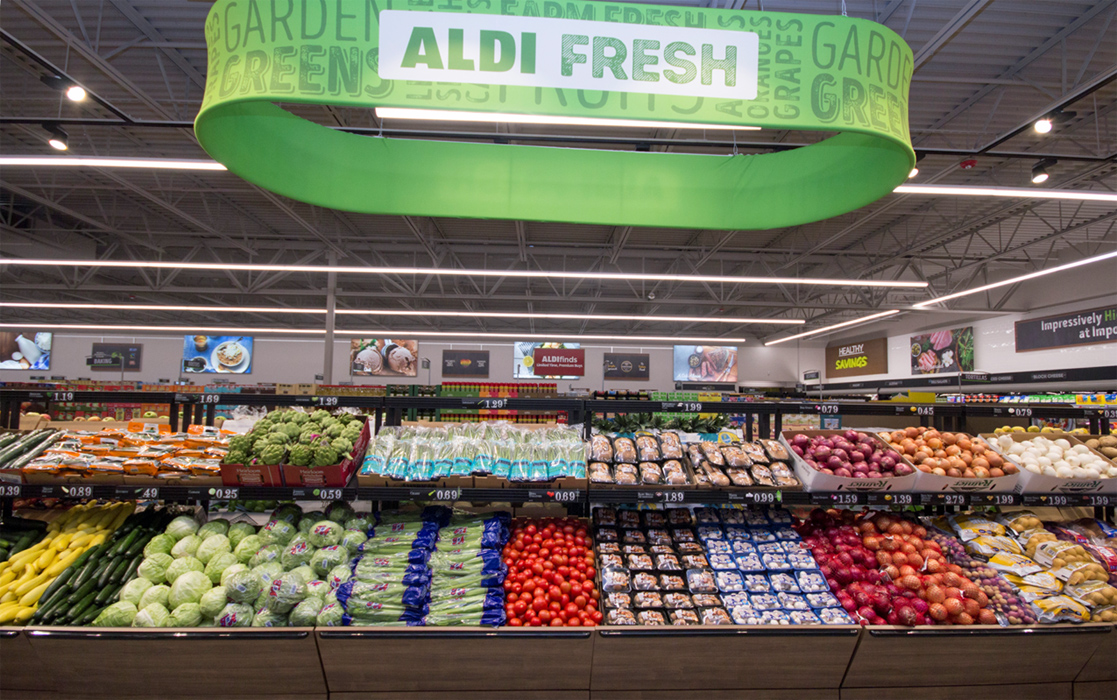Aldi store filled with lots of produce