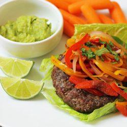 fajita burger on a plate