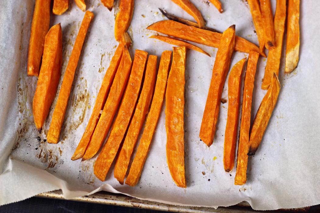 sweet potato fries on sheet pan