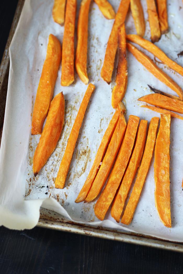 Sweet Potato Fries on a baking sheet