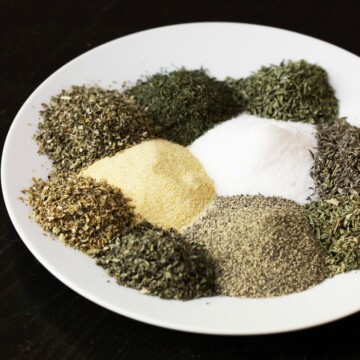 ingredient for seasoning mix arrayed on plate
