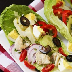 A plate of niçoise salad wraps