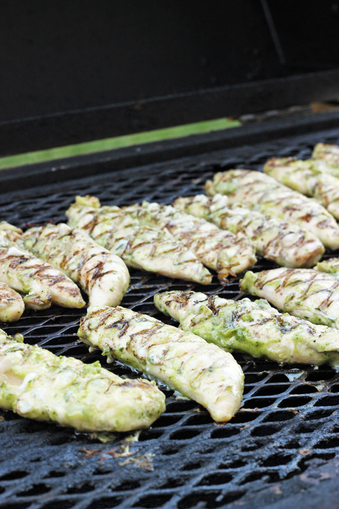 dijon basil chicken on grill