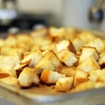 A close up of croutons on tray
