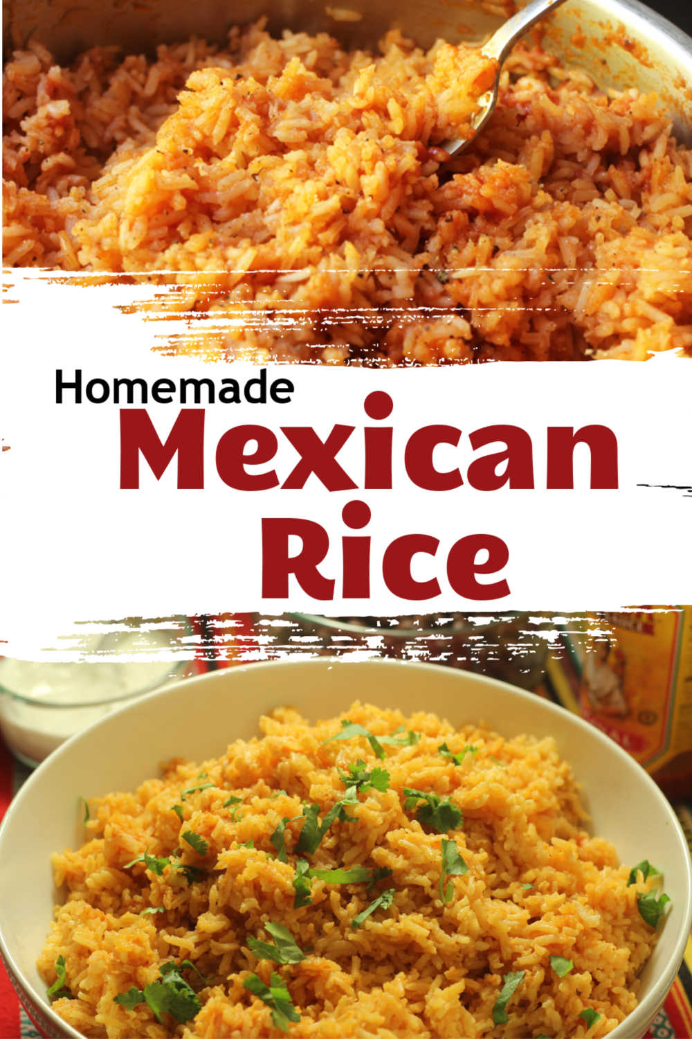 A dish is filled with Spanish rice