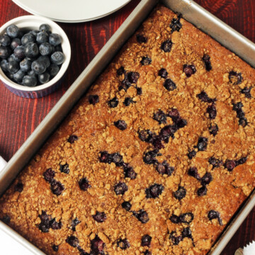 A baking pan of Blueberry coffeecake