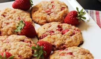 a platter of strawberry oatcakes