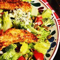 Chicken strip salad on a plate