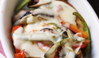 Cheesy Chicken and Peppers in gratin dish
