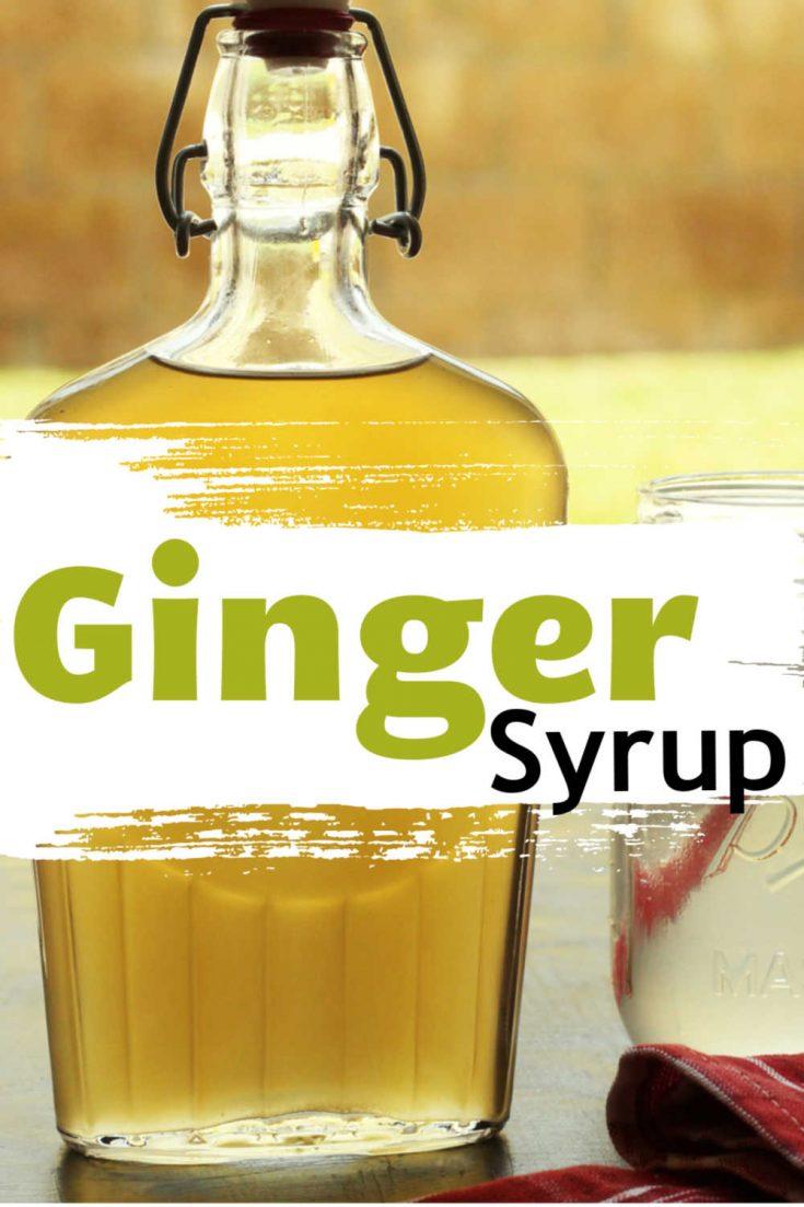 close up of ginger syrup bottle