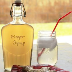 bottle of ginger syrup on table