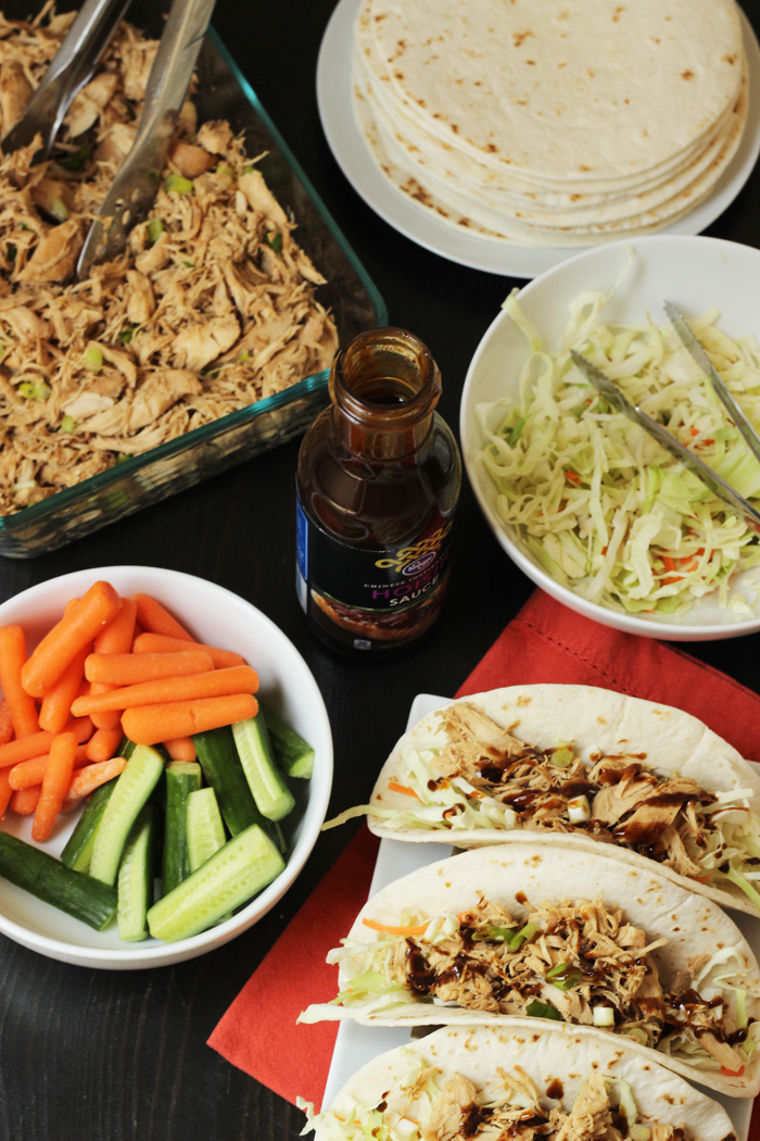 Moo Shu Chicken with fixings to make tacos