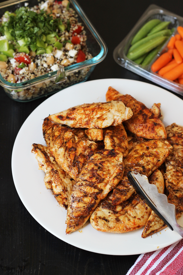 dinner of spicy chicken with spice rub