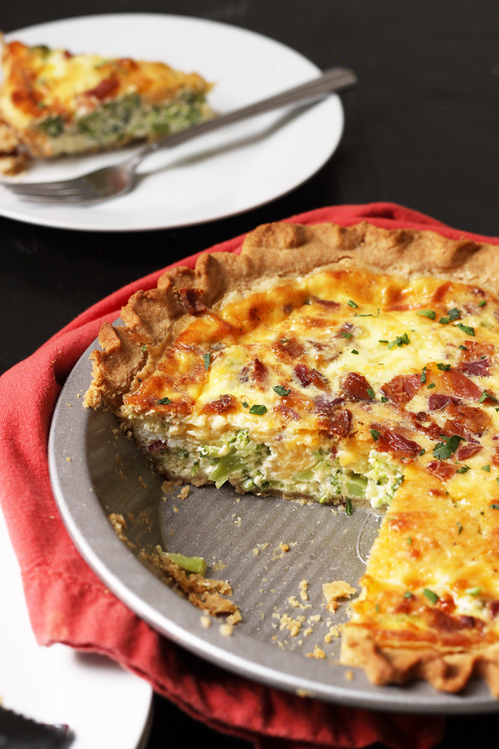 quiche with slice removed