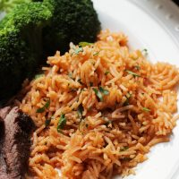 close up of Chimichurri Rice on plate