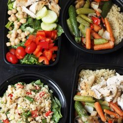 meal prep boxes of lunch