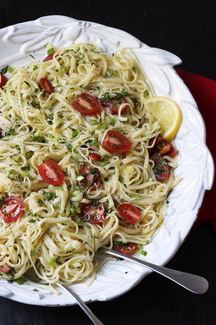 Herbed Lemon Linguine with Tomatoes | Good Cheap Eats