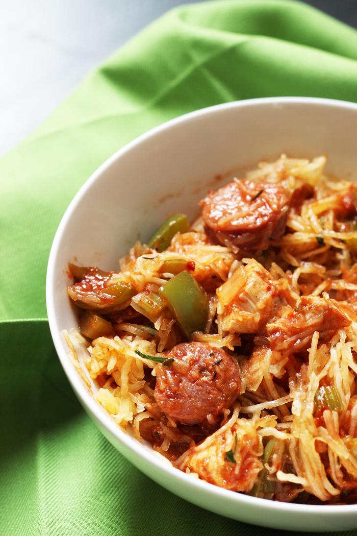 bowl of spaghetti squash jambalaya