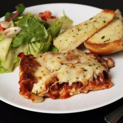 Spicy Sausage Lasagna with Mushrooms and Peppers