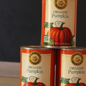 stacks of canned pumpkin