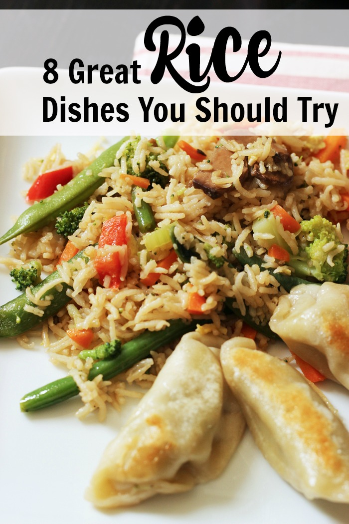A plate of fried rice and potstickers
