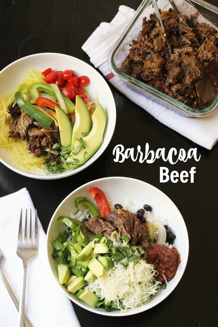 table set with burrito bowls of Barbacoa Beef