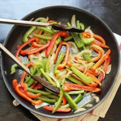 fajita vegetables in skillet
