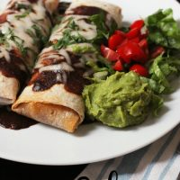 Red Burritos on plate with guacamole