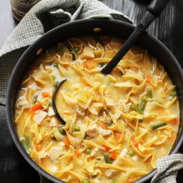 a ladle in a pot of soup