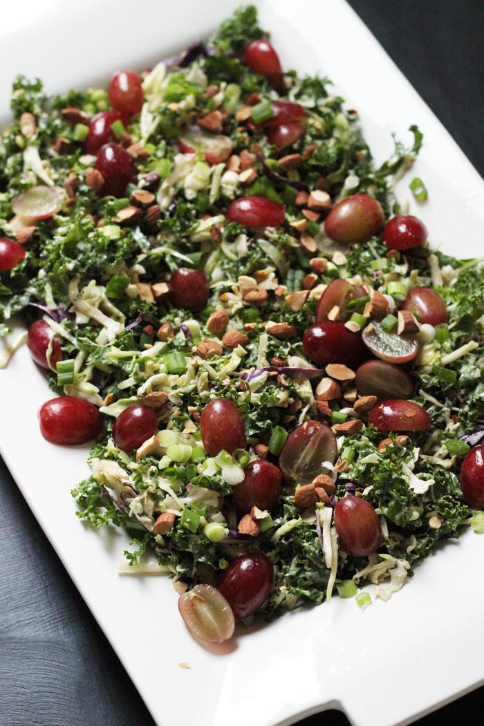 kale salad on rectangle platter
