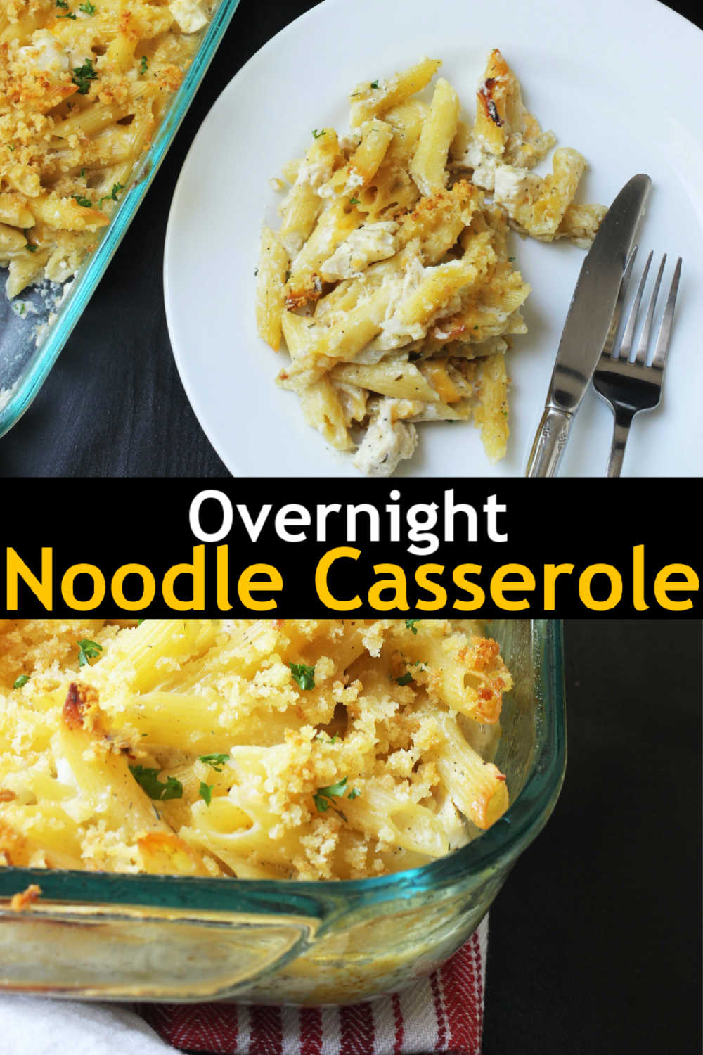 A plate with chicken noodle casserole and a casserole dish