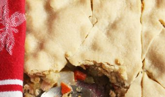 single crust chicken pot pie with a spoon