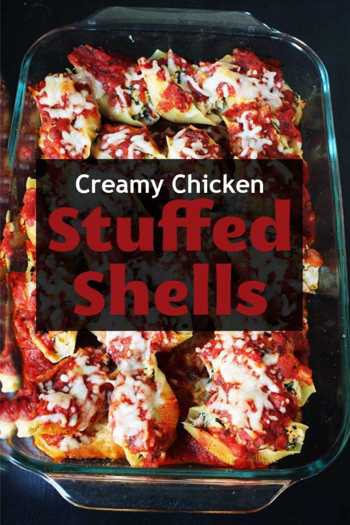 a pan of chicken-stuffed shells