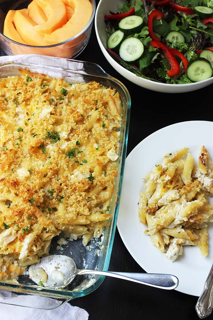 casserole on dinner table with a plate dished up