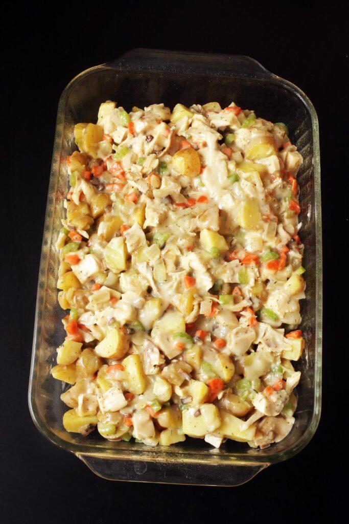 pot pie filling in casserole