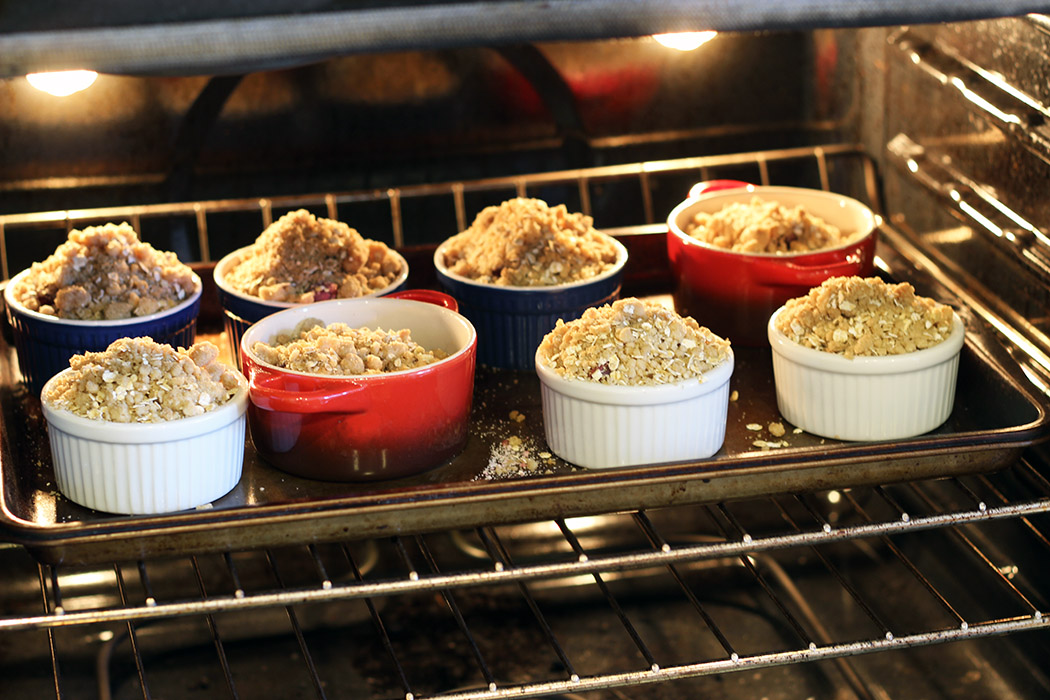 cherry crumble in oven