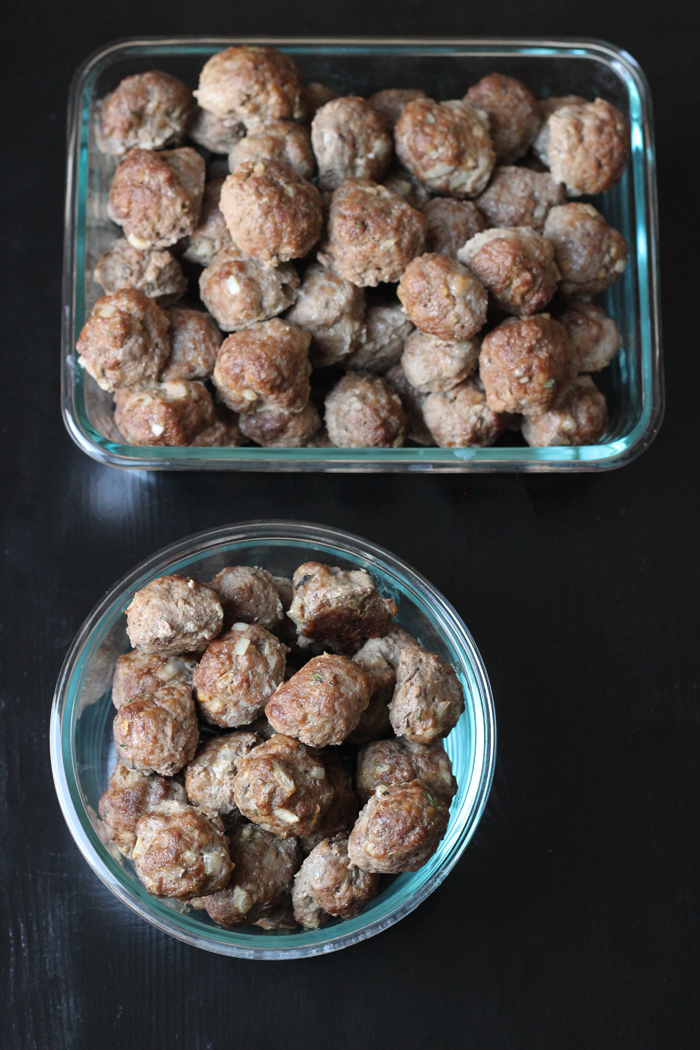 Bulk Batch Supreme Meatballs in two glass containers