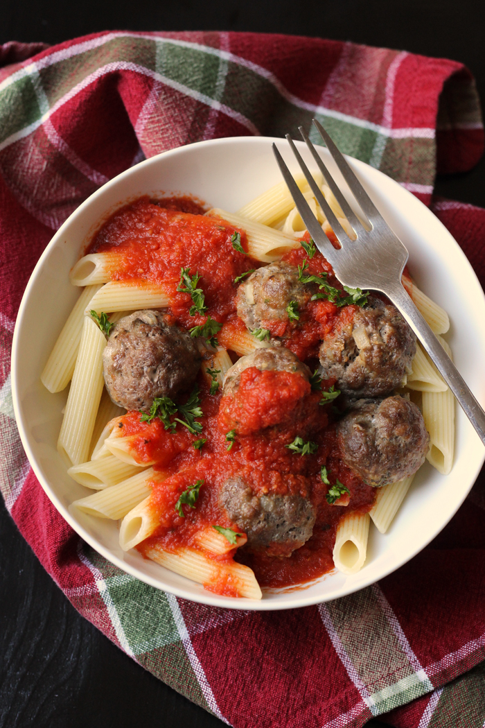 Bulk Batch Supreme Meatballs in a bowl of pasta and sauce