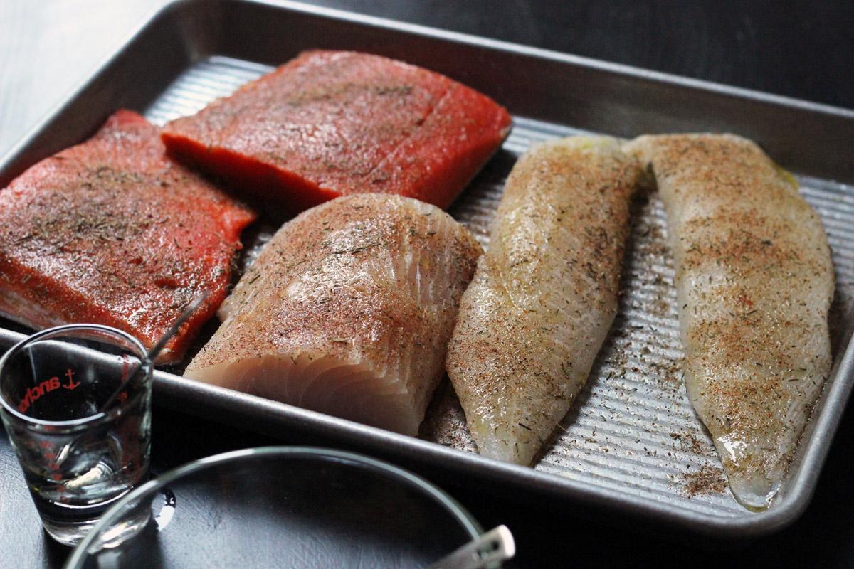 fish rub on three kinds of fillets