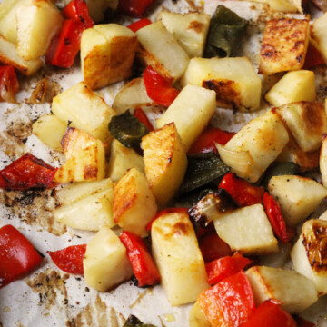 roasted potatoes and peppers on tray
