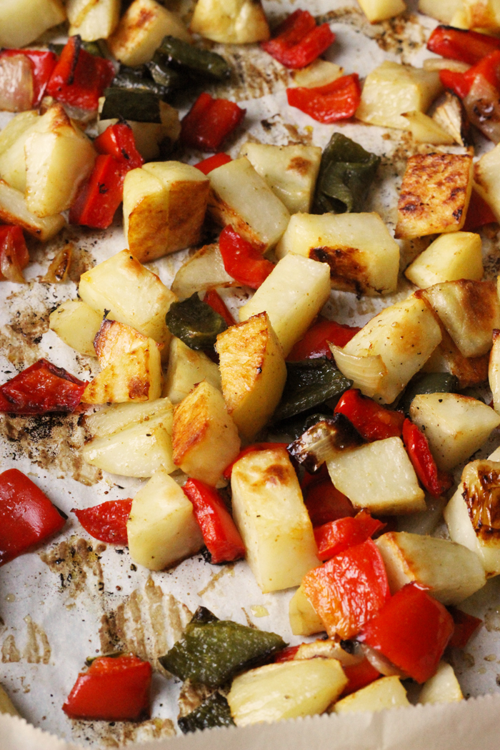 Roasted Potatoes and Peppers on a sheet pan