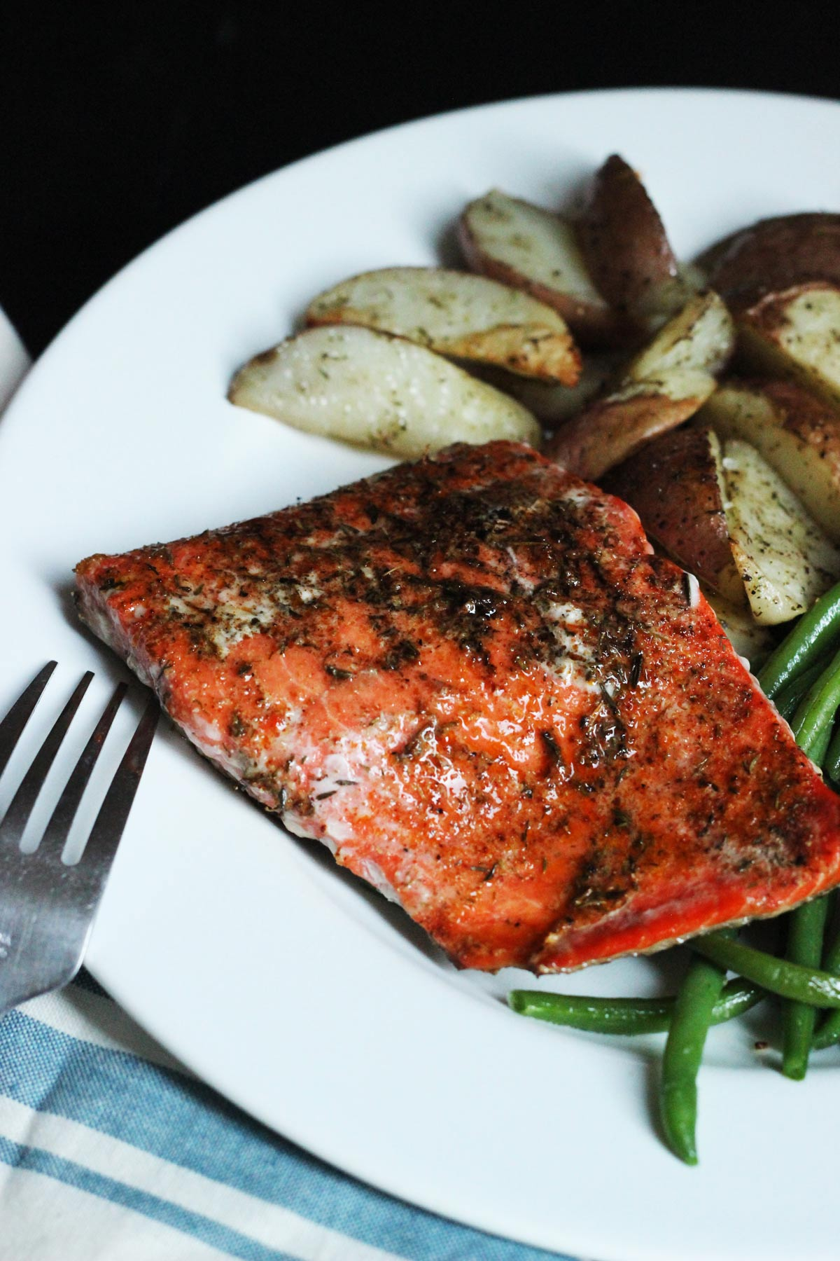 grilled salmon on dinner plate