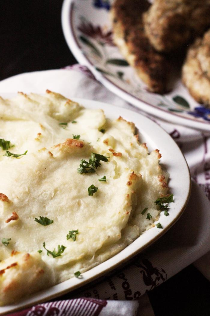 dish of mashed potato casserole