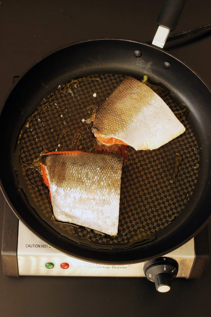 salmon skin up in skillet
