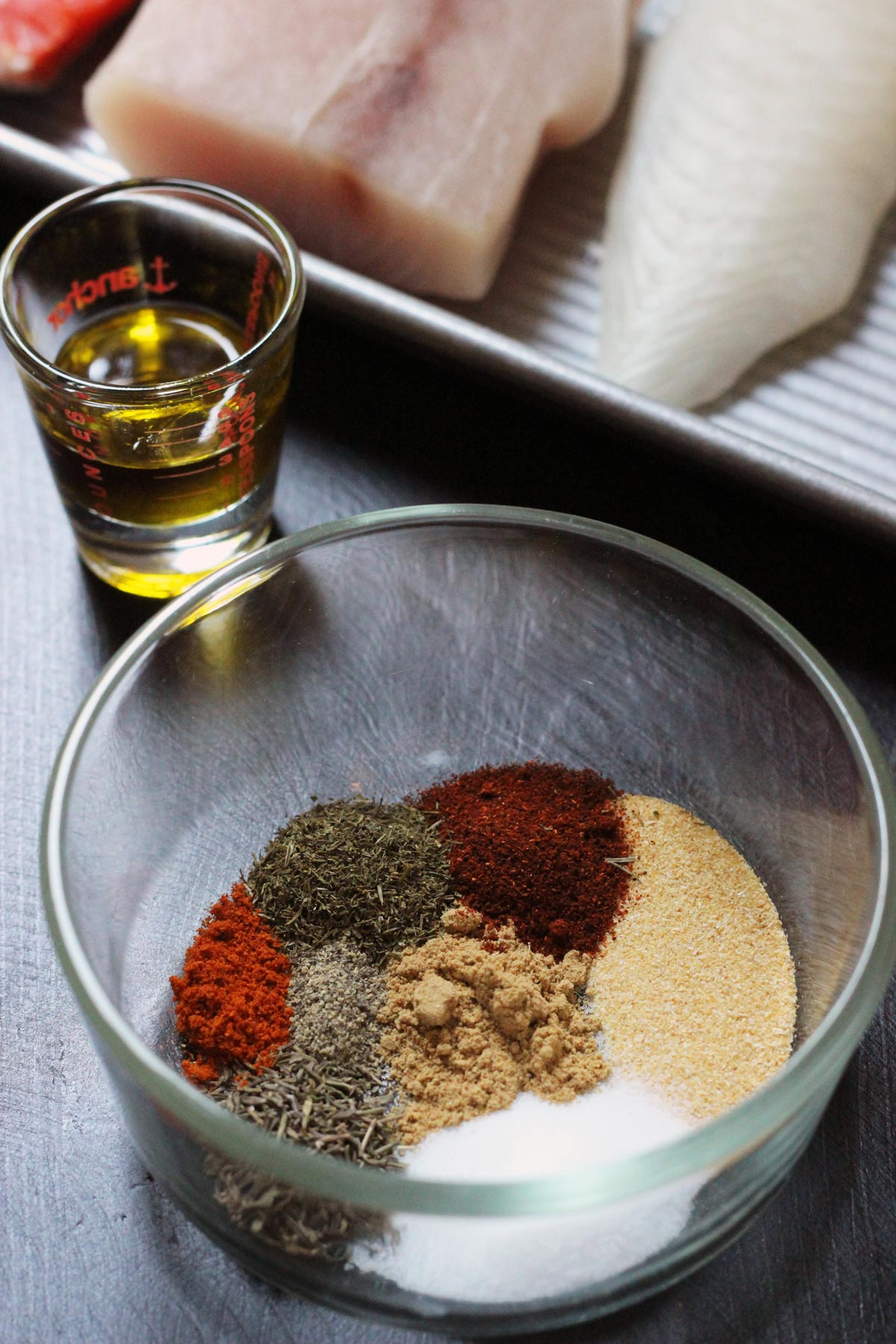 spicy fish rub in dish