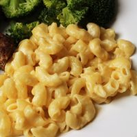 A close up of a plate of mac and cheese