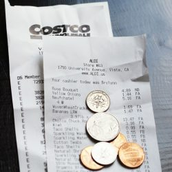 grocery receipts with spare change