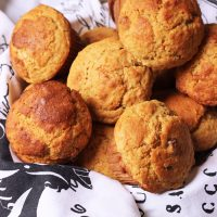 A close up of Carrot Muffins in basket